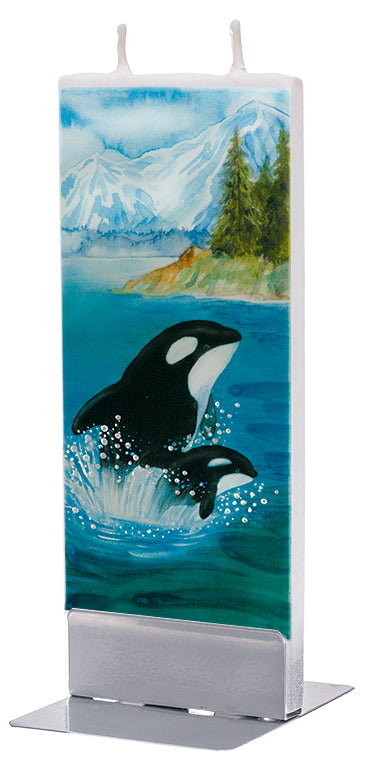 Orca Whale and Baby in Alaska Candle