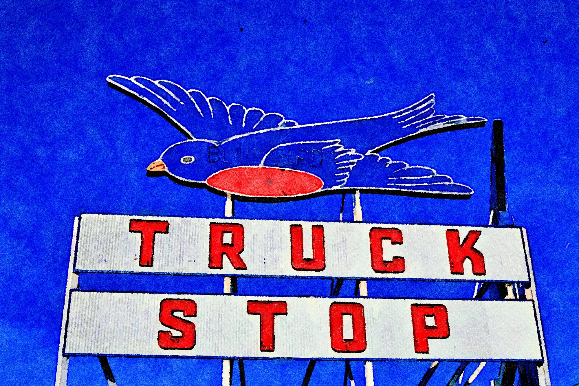 Blue Bird Truck Stop Sign, Pryor Street, Atlanta, Georgia, Reworked, Series 1