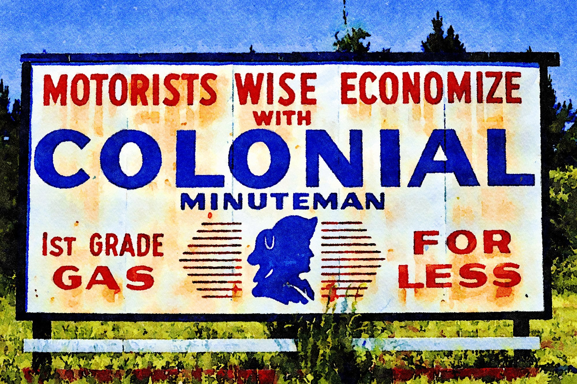 Colonial Gas Sign Billboard, Route 40, St Mary's, Georgia, Reworked, Series 1