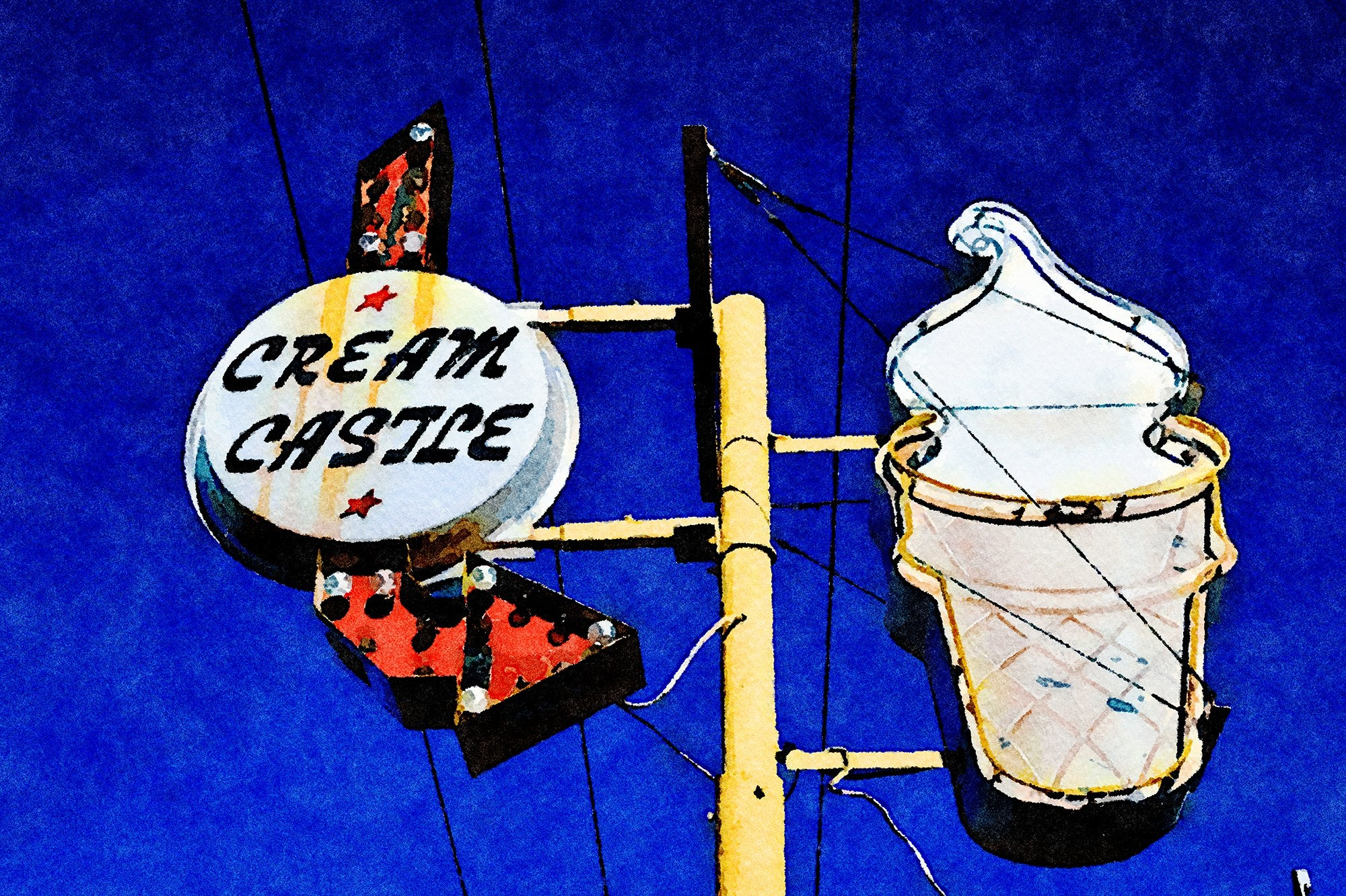 Cream Castle Ice Cream Sign, West Malone, Sikeston, Missouri, Reworked, Series 1