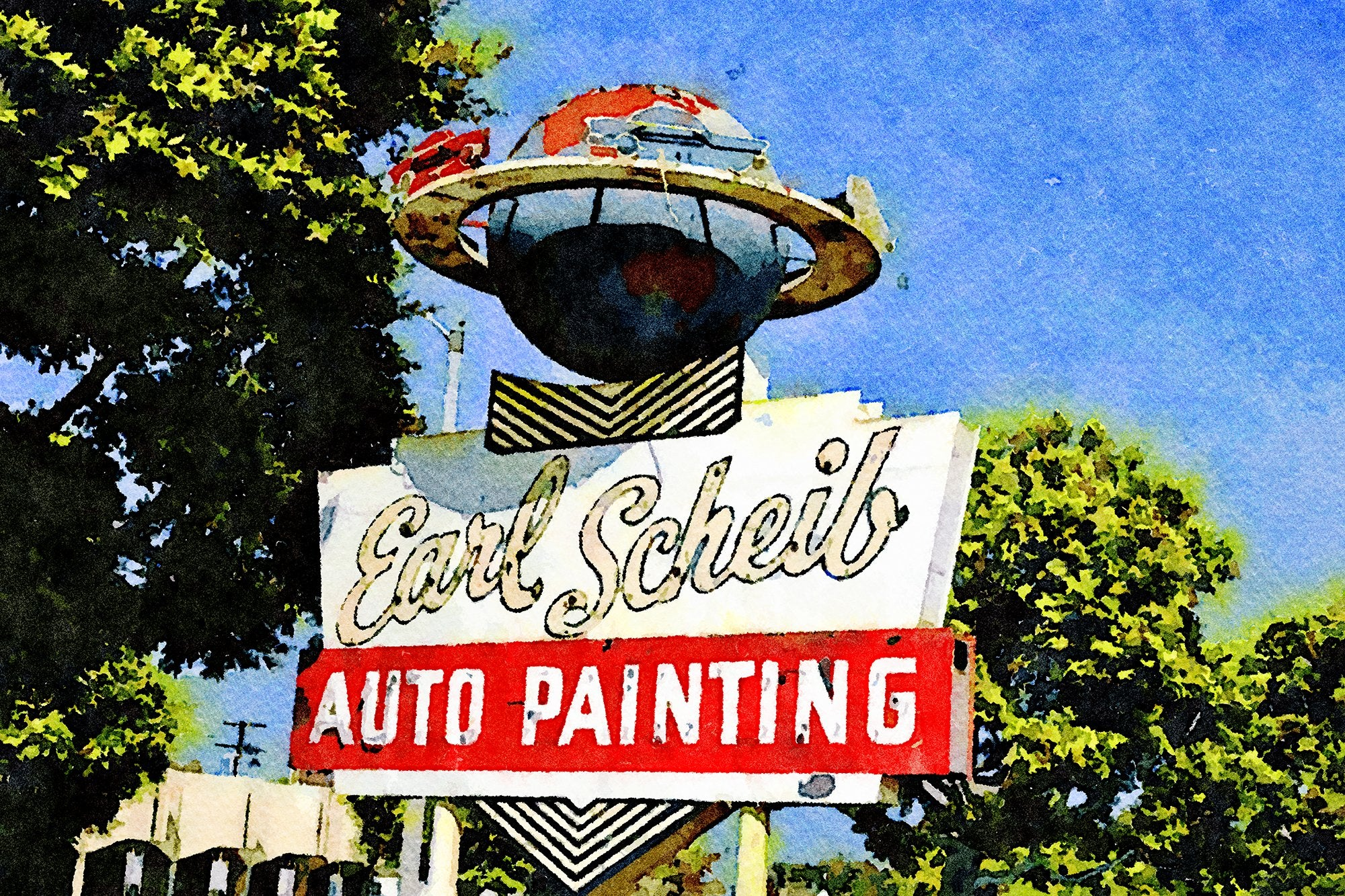 Earl Schieb Auto Painting Sign, Olympic Boulevard, Beverly Hills, California, Reworked, Series 1