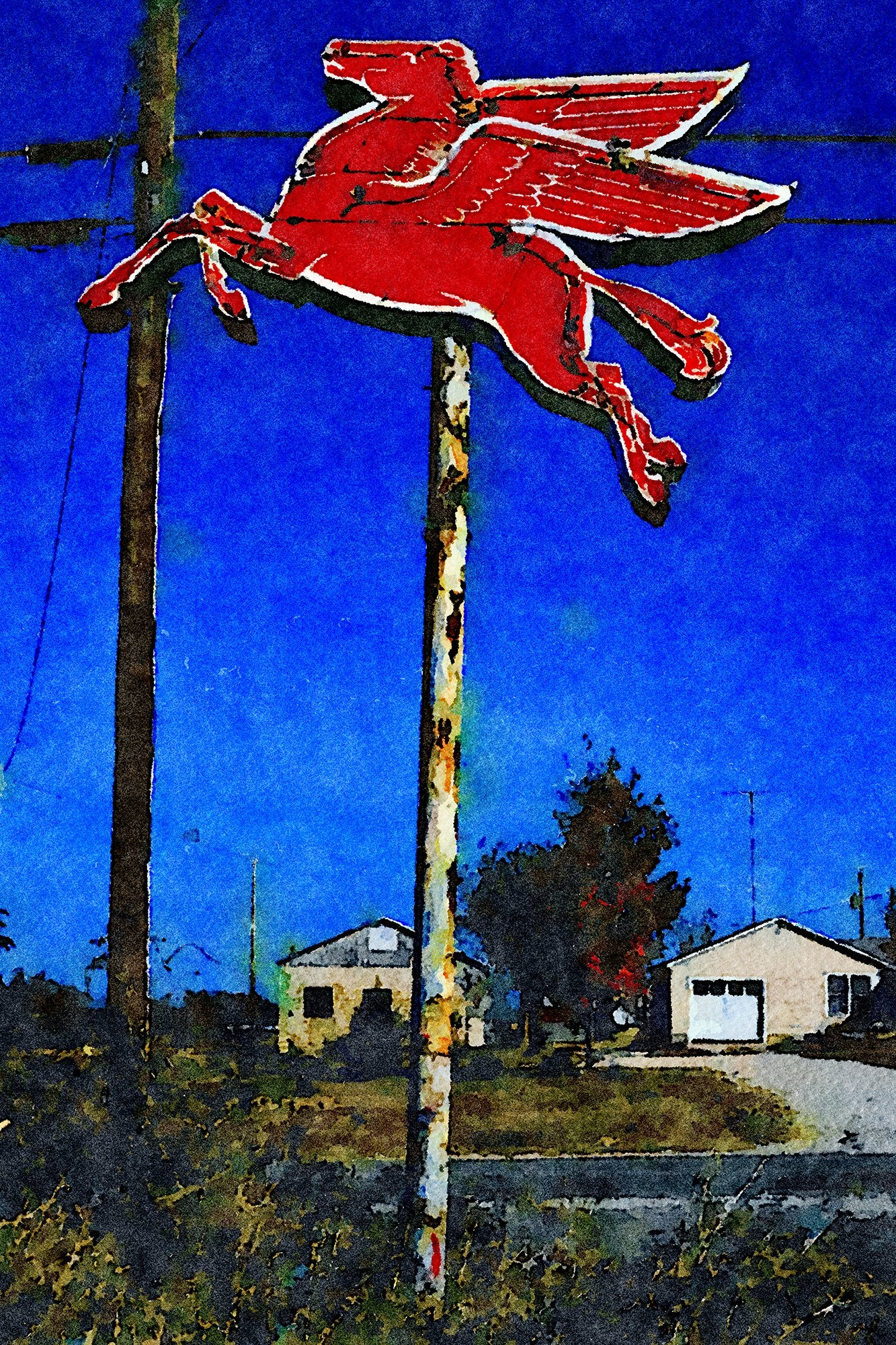 Flying Red Horse Mobil Sign, Route 60B, Mountain Grove, Missouri, Reworked, Series 1