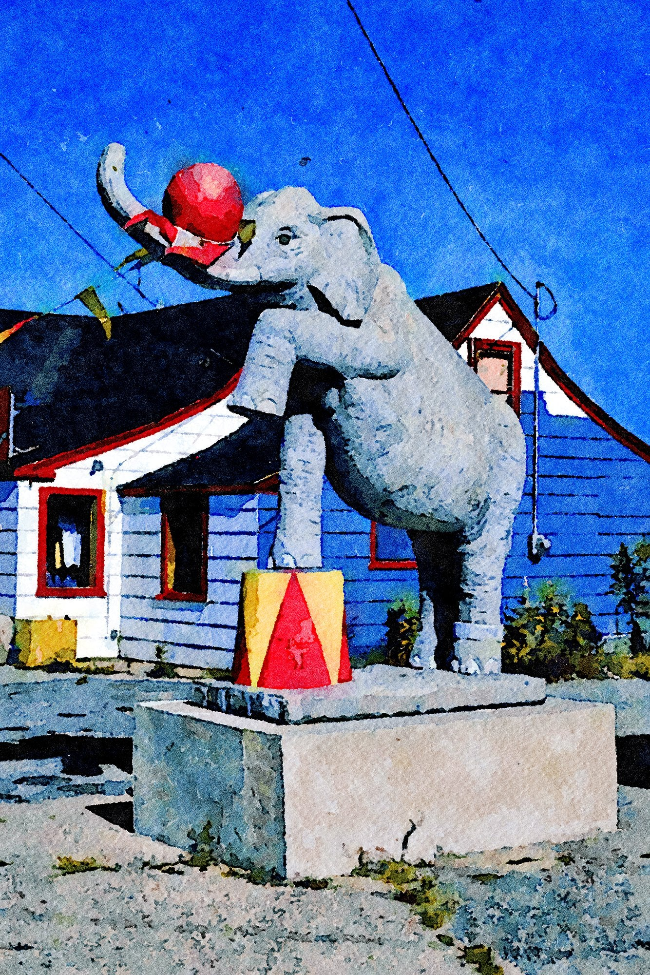 India Boutique Elephant Statue, Route 28, Dennisport, Massachusetts, Reworked, Series 1