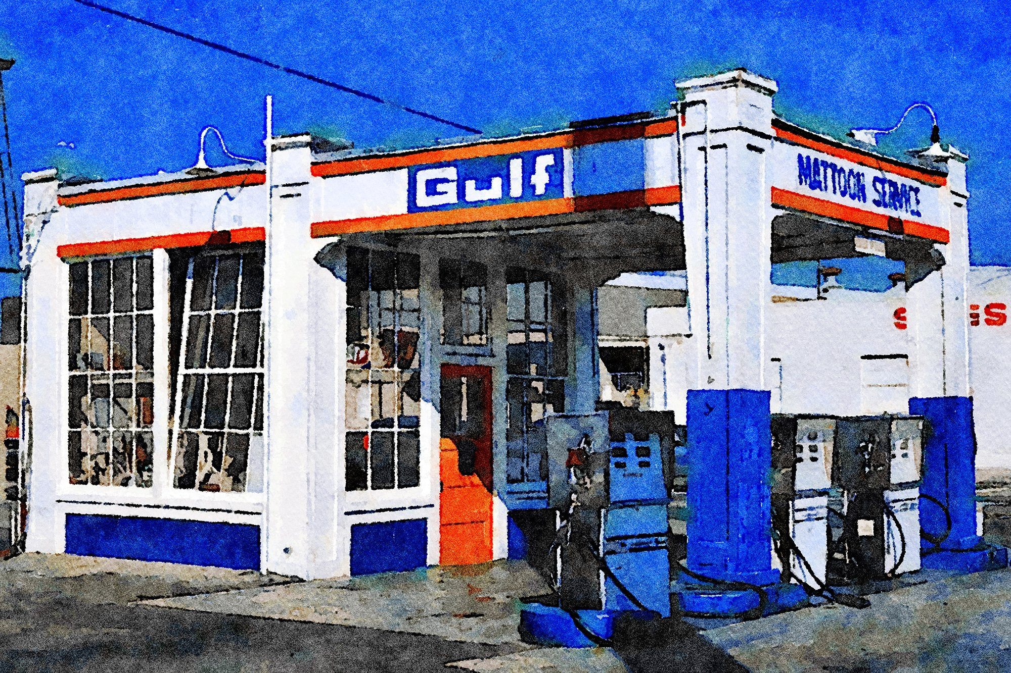 Mattoon Service Station, National and Washington Boulevards, Culver City, California, Reworked, Series 1
