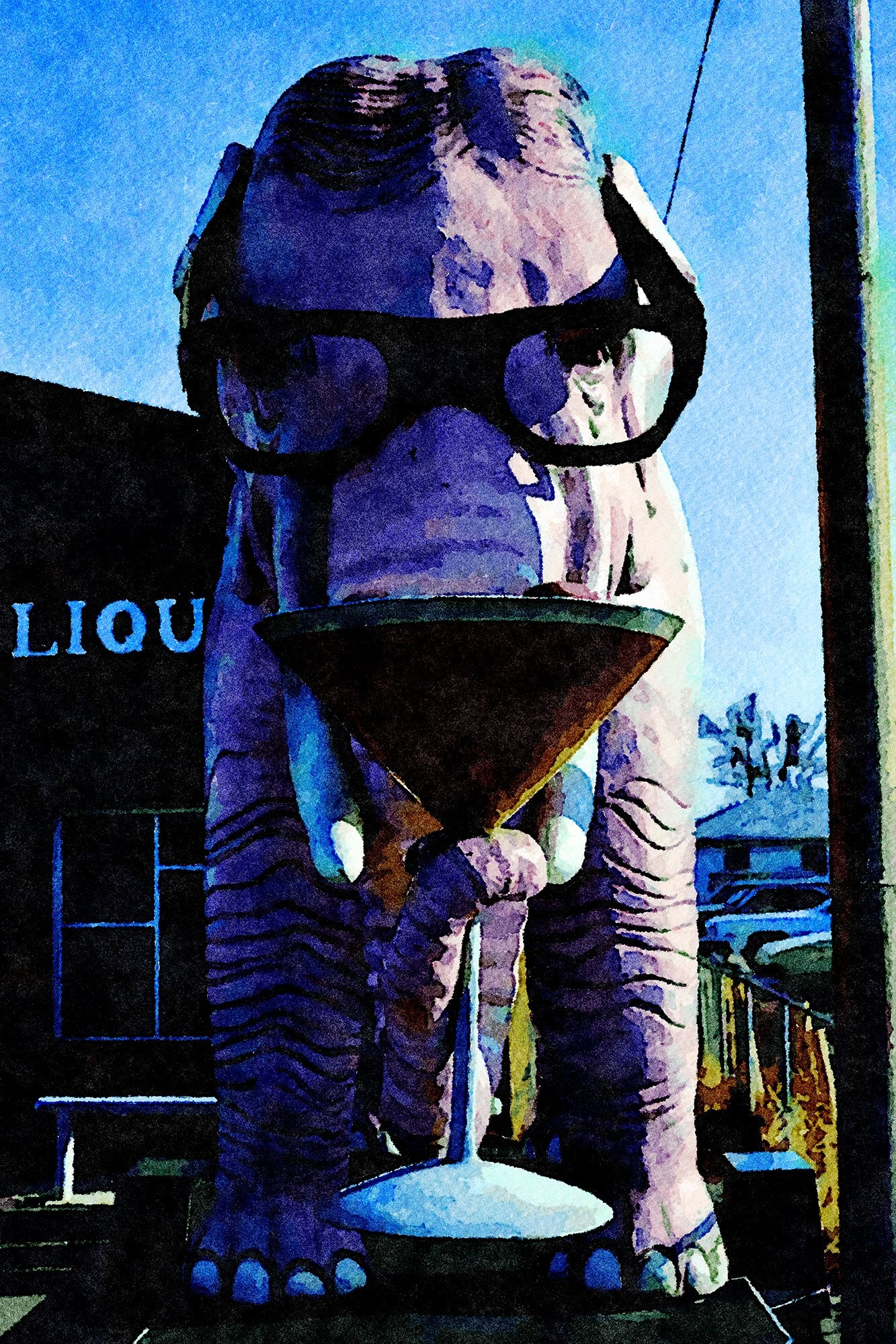 Pink Elephant Liquor Store Statue, McCordsville, Indiana, Reworked, Series 1