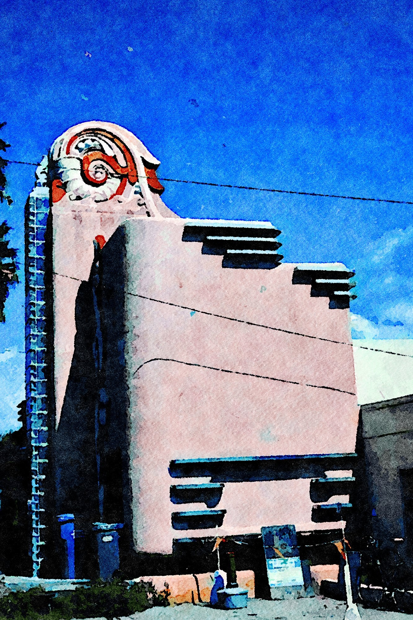 Retro Deco Building, Route 41, Morro Bay, California, Reworked, Series 1