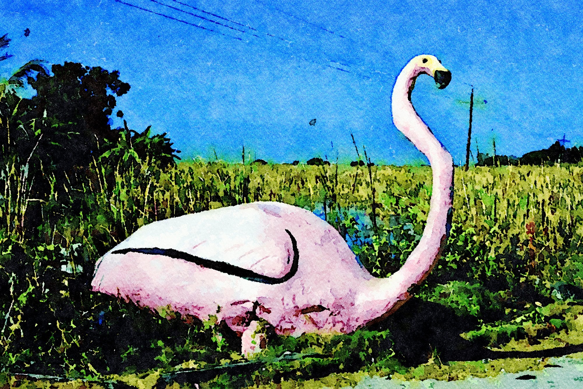 Roadside Flamingo Statue, Frog City, Route 41, Florida, Reworked, Series 1