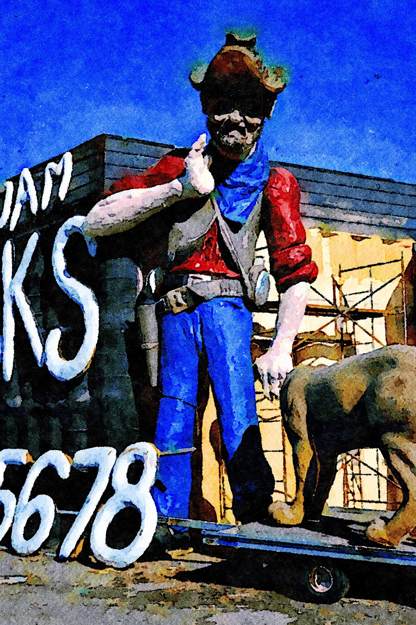 Spray Foam Trucks Prospector Statue and Sign, Frontage Road, Albany, Oregon, Reworked, Series 1
