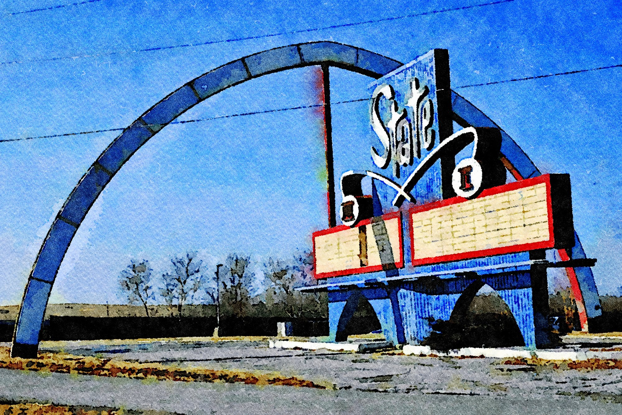 State Drive-In Theater Sign, Route 24 and State Avenue, Kansas City, Kansas, Reworked, Series 1