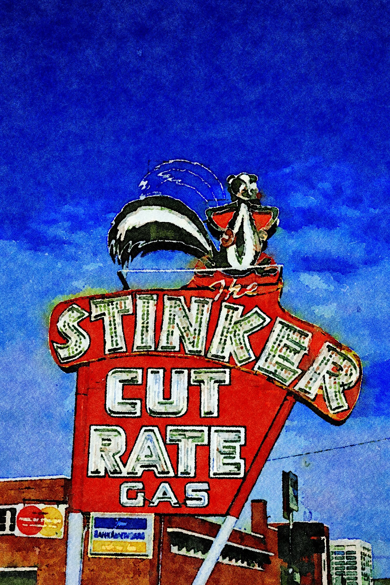 Stinker Cut Rate Gas Sign, Boise, Idaho, Reworked, Series 1