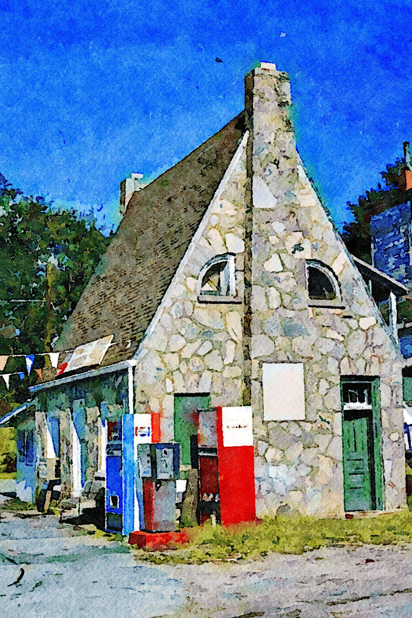 Stone Gas Station, Side View, Route 93, Liberty, South Carolina, Reworked, Series 1