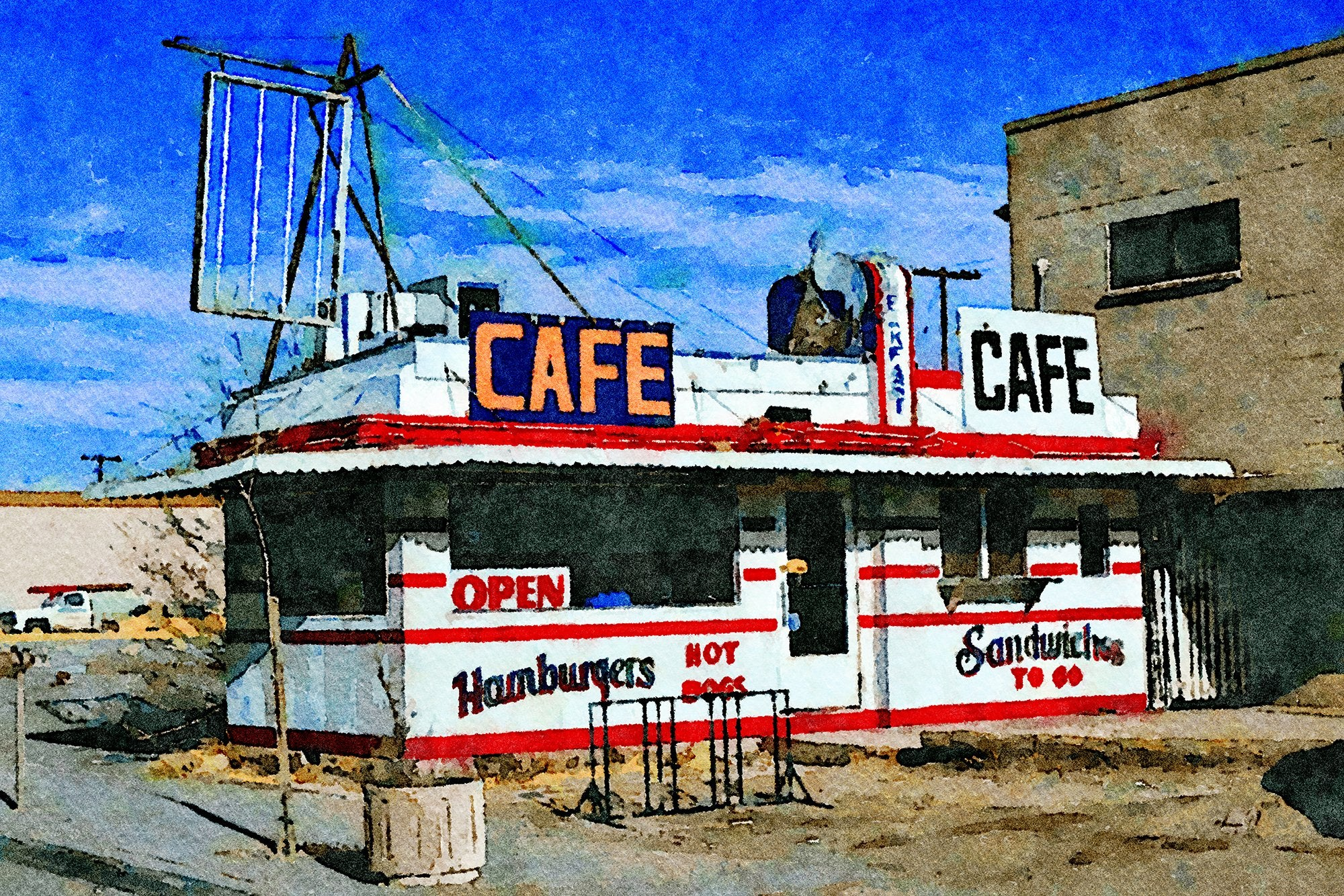 Stork Café, 3rd Street and Route 66, Winslow, Arizona, Reworked, Series 1