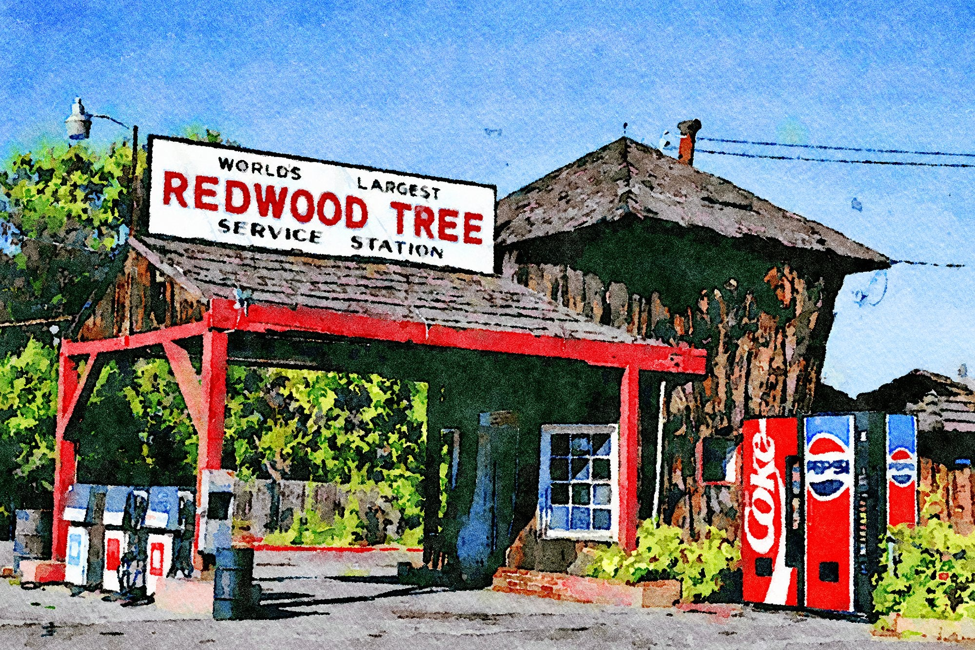 World's Largest Redwood Tree Service Station, Route 101, Ukiah, California, Reworked, Series 1