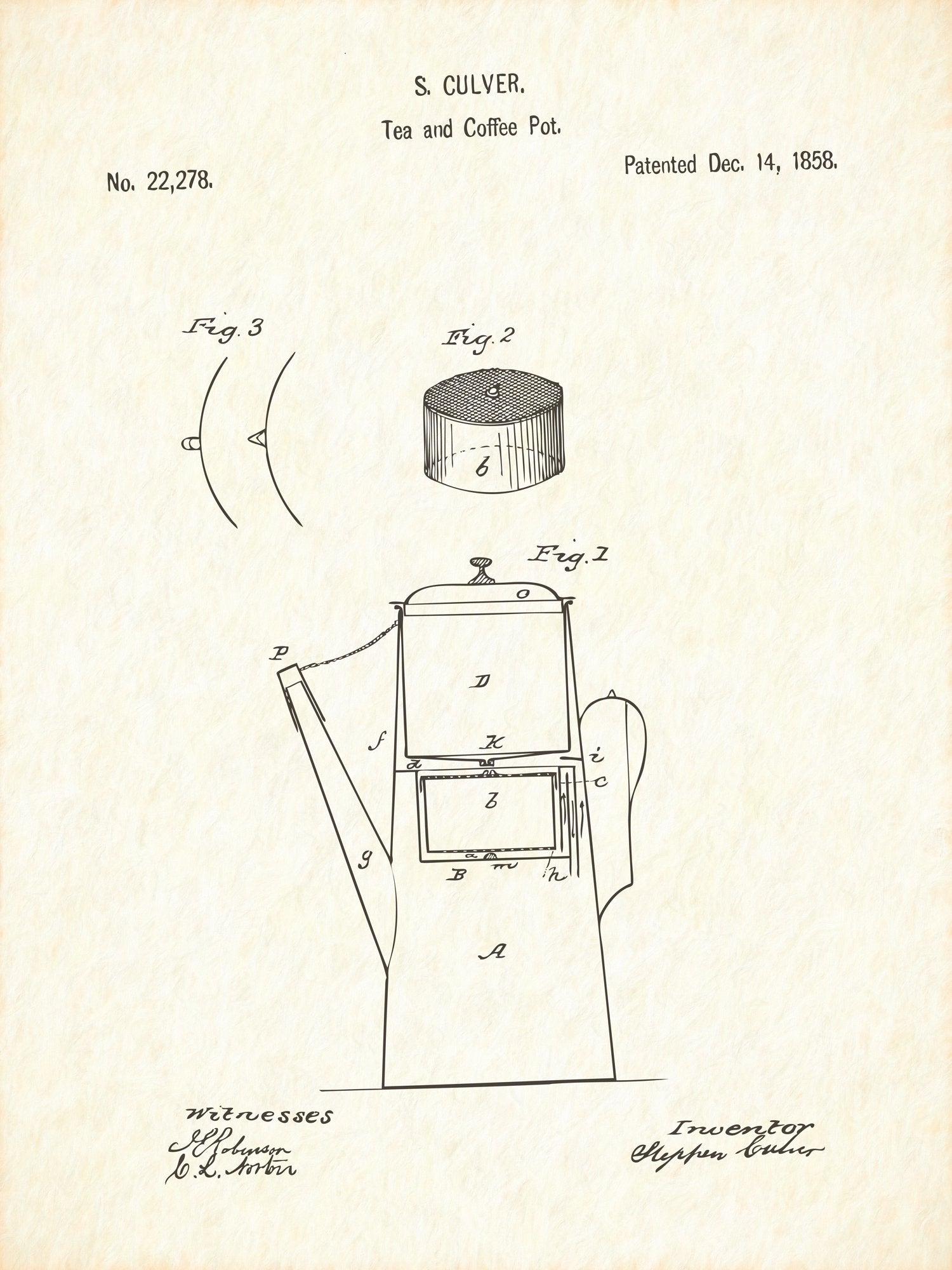 U.S. Patent No. 22278-1 Tea and Coffee Pot Reworked, Series 1