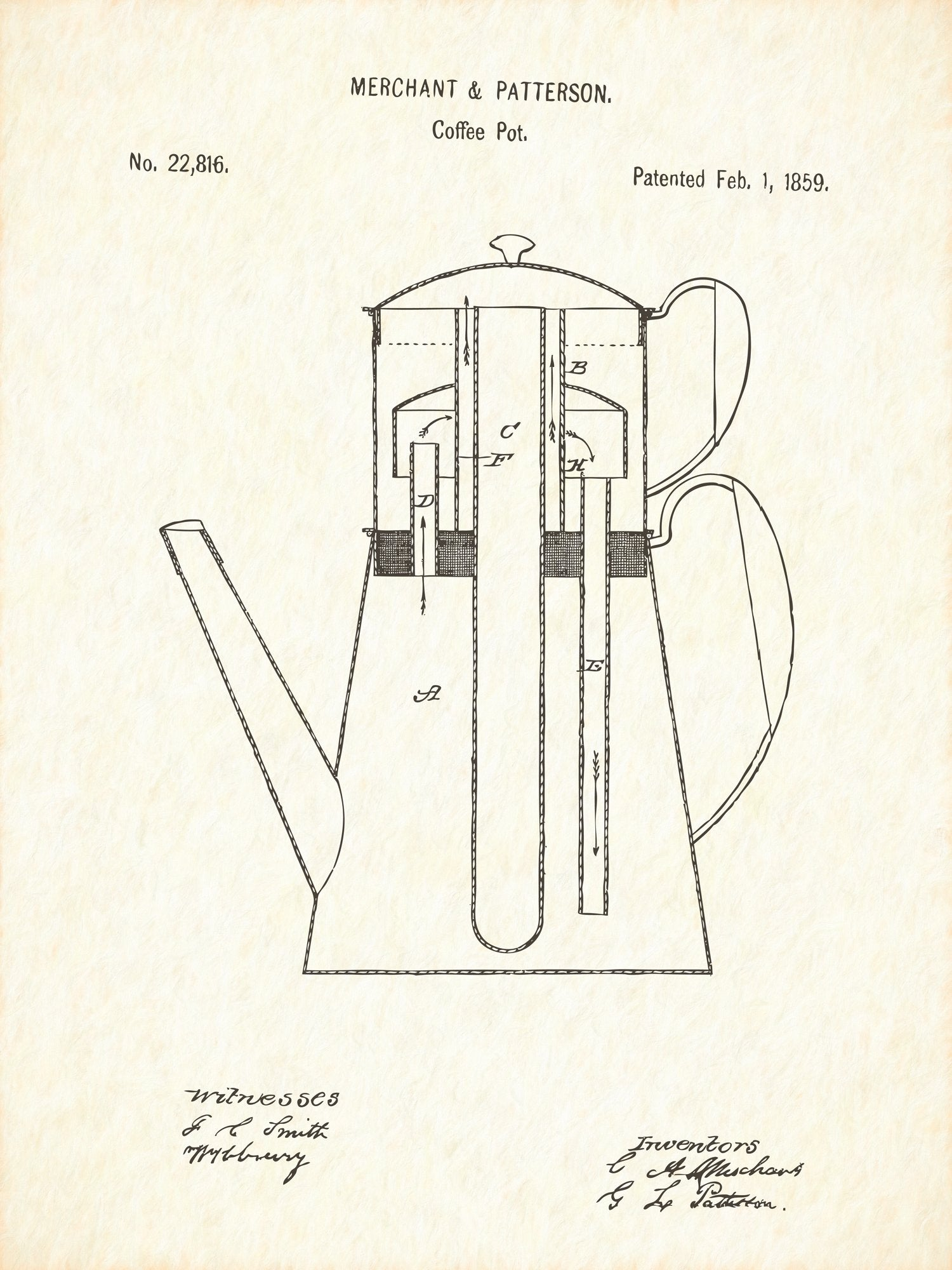 U.S. Patent No. 22816-1 Coffee Pot Reworked, Series 1