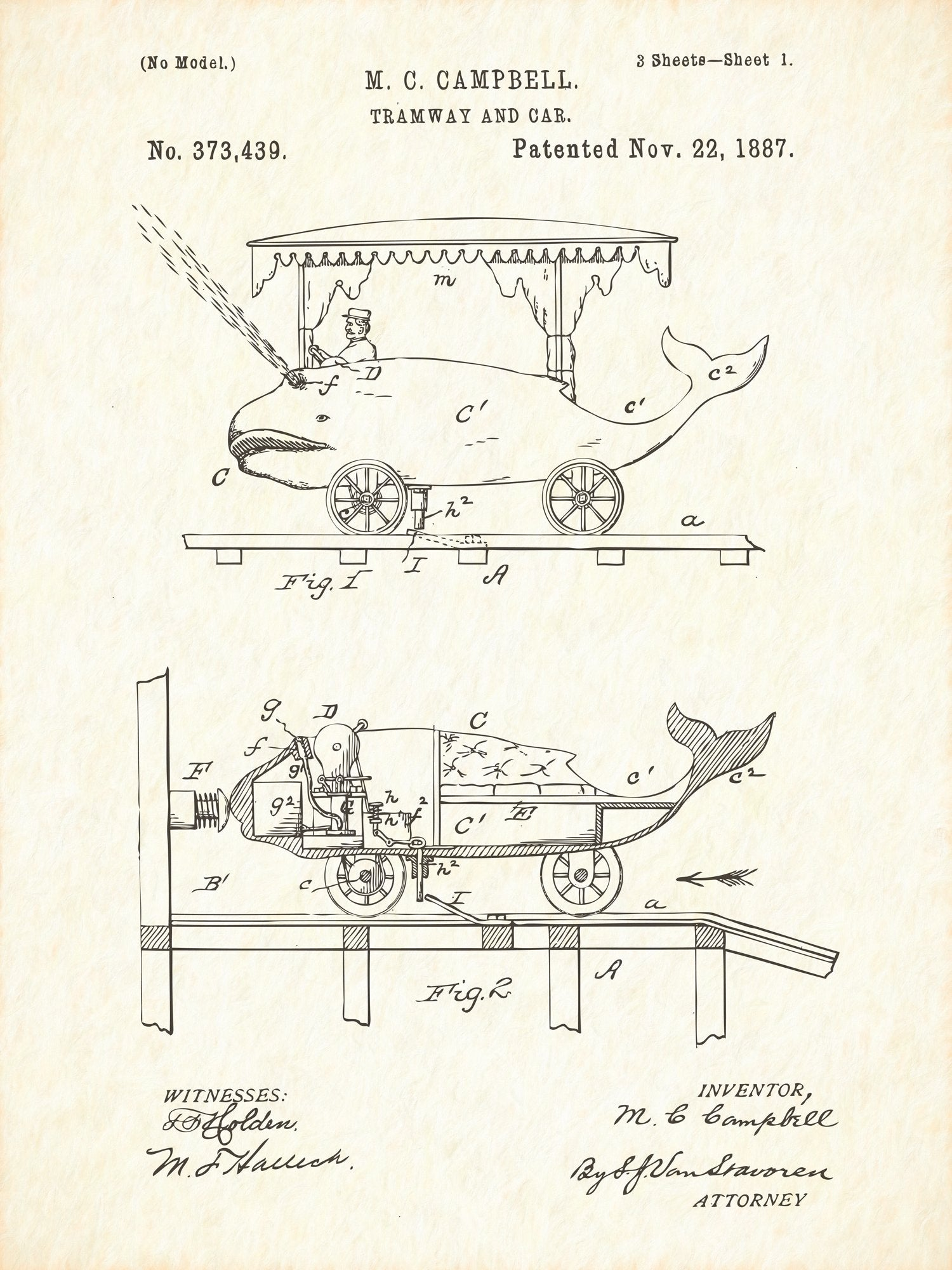 U.S. Patent No. 373439-1 Tramway and Car Reworked, Series 1