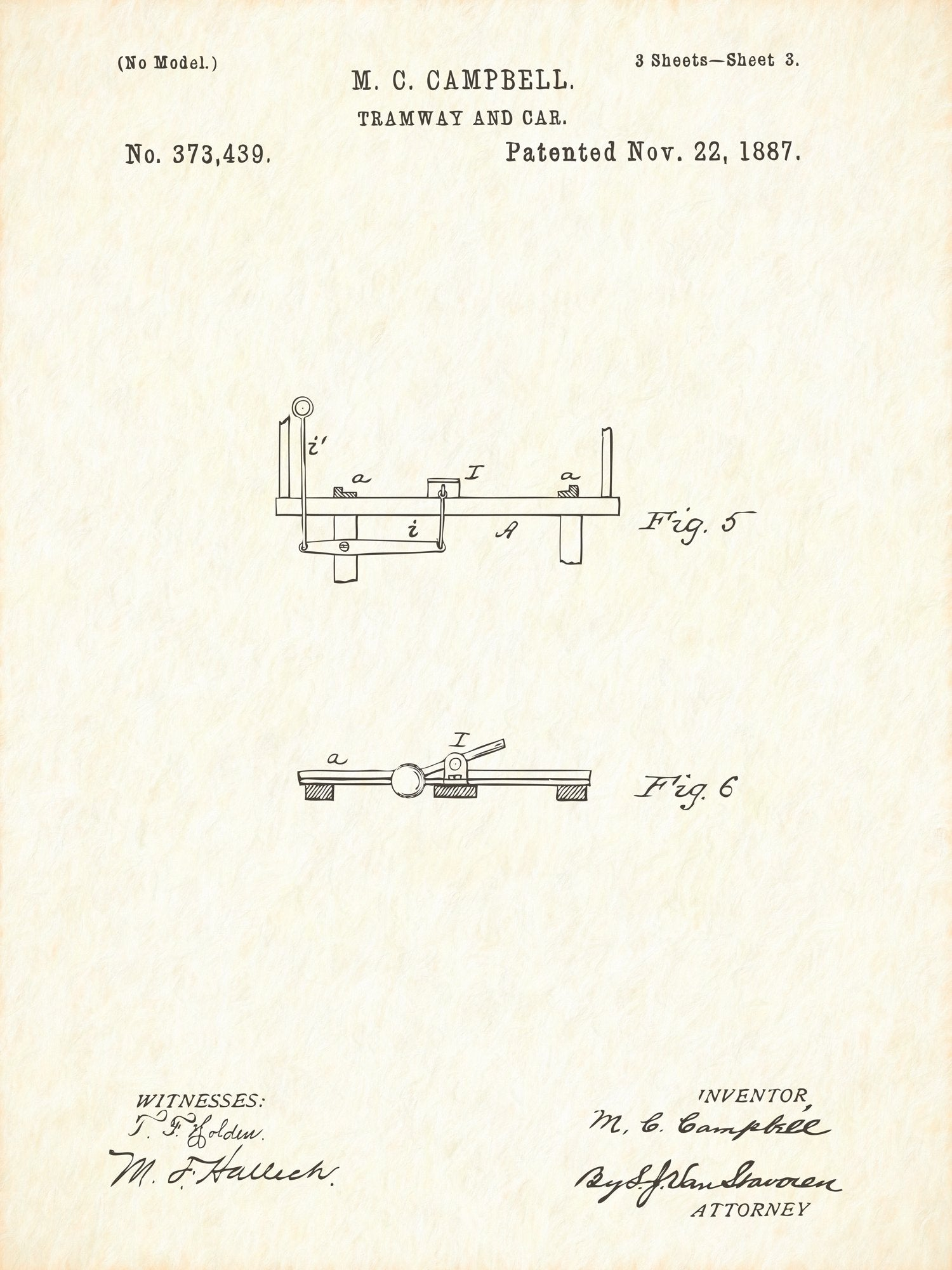 U.S. Patent No. 373439-3 Tramway and Car Reworked, Series 1