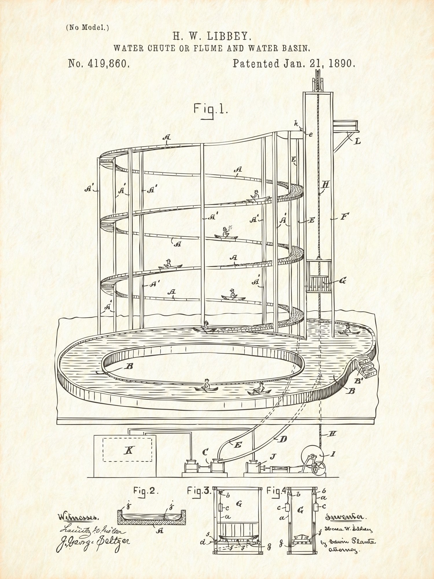 U.S. Patent No. 419860-1 Water Chute or Flume and Water Basin Reworked, Series 1