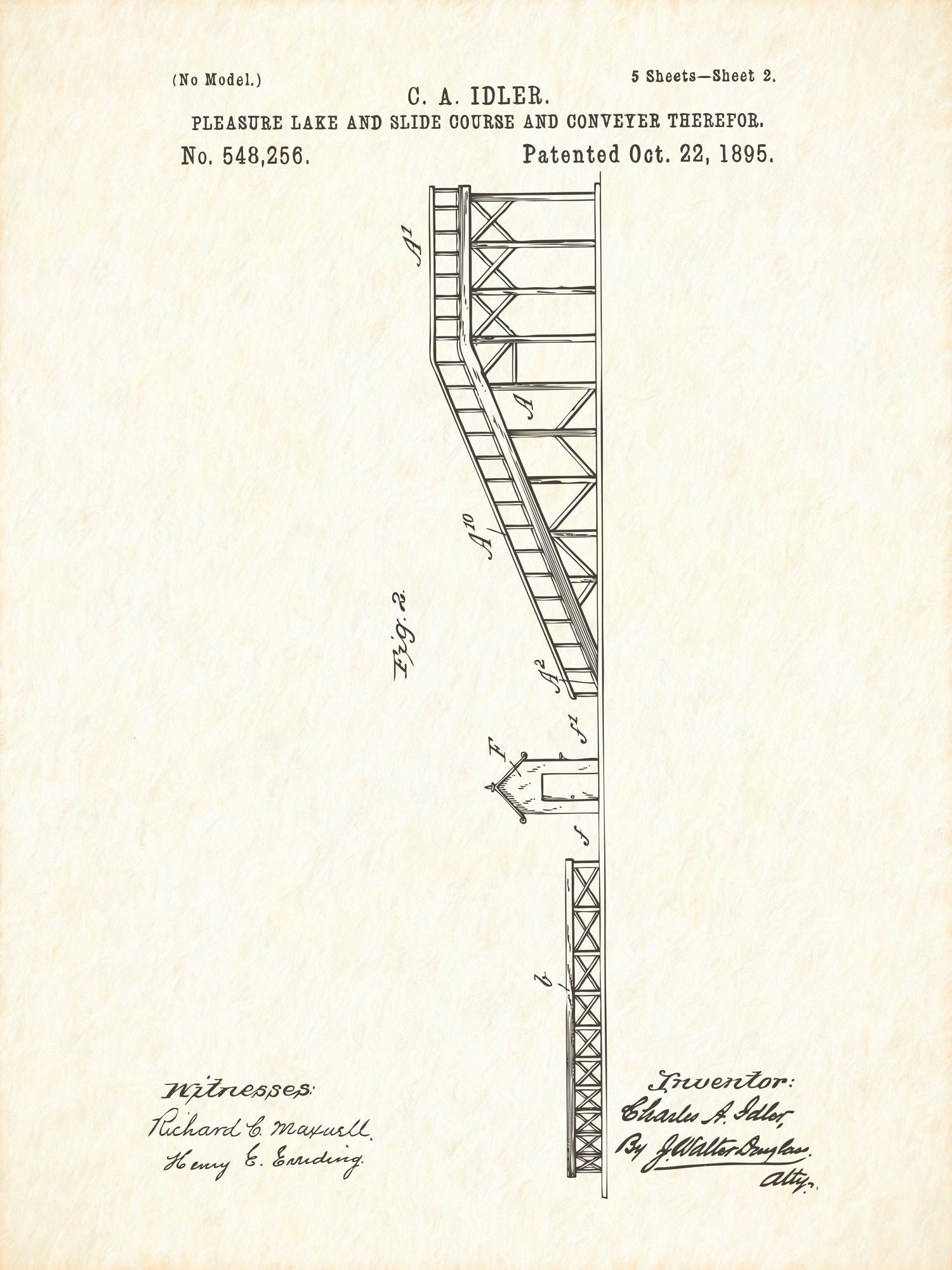 U.S. Patent No. 548256-2 Pleasure Lake and Slide Course and Conveyer Therefor Reworked, Series 1