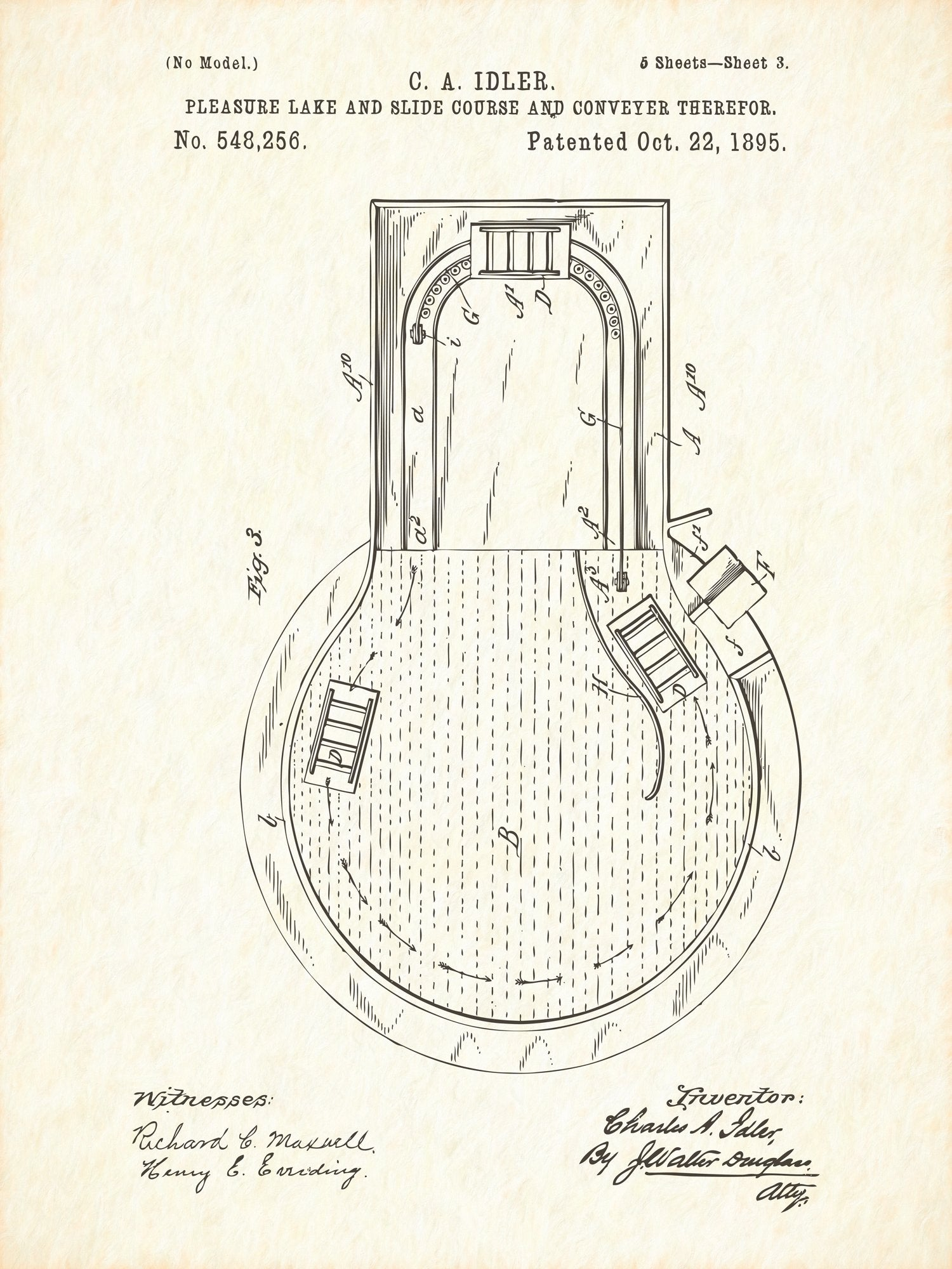 U.S. Patent No. 548256-3 Pleasure Lake and Slide Course and Conveyer Therefor Reworked, Series 1