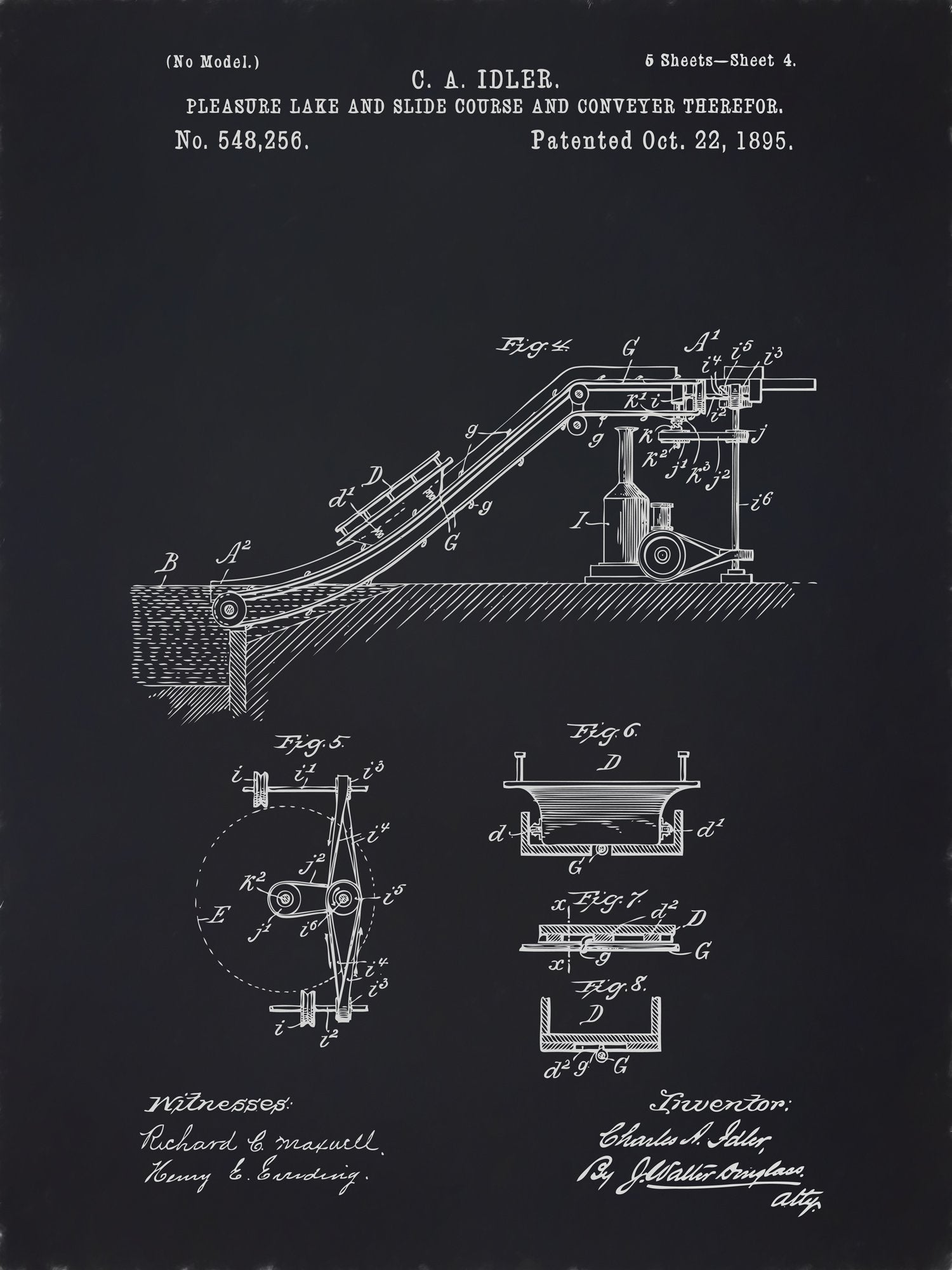 U.S. Patent No. 548256-4 Pleasure Lake and Slide Course and Conveyer Therefor Reworked, Series 2