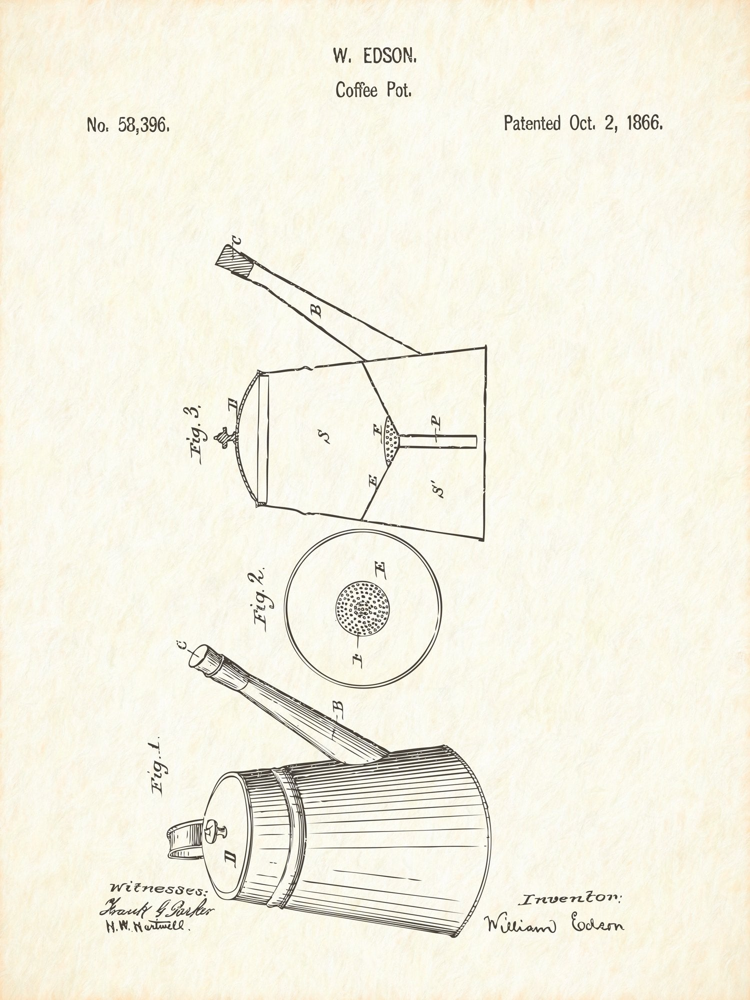 U.S. Patent No. 58396-1 Coffee Pot Reworked, Series 1