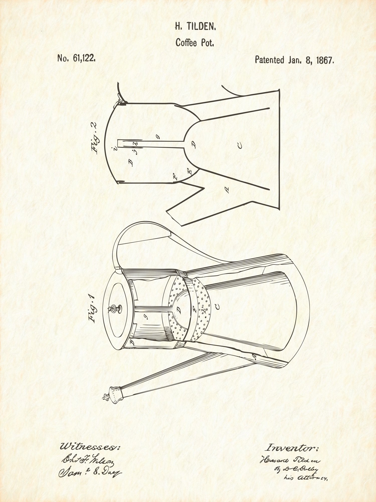 U.S. Patent No. 61122-1 Coffee Pot Reworked, Series 1