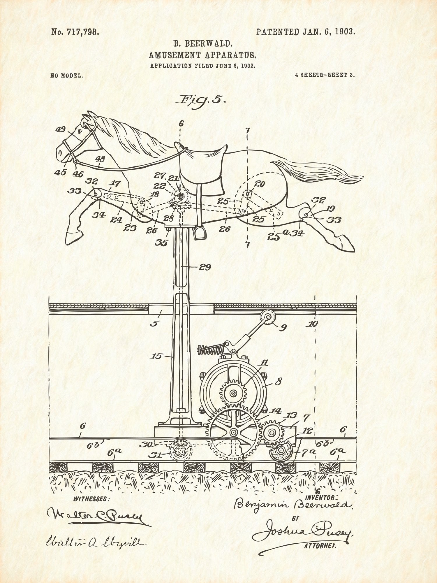 U.S. Patent No. 717798-3 Amusement Apparatus Reworked, Series 1