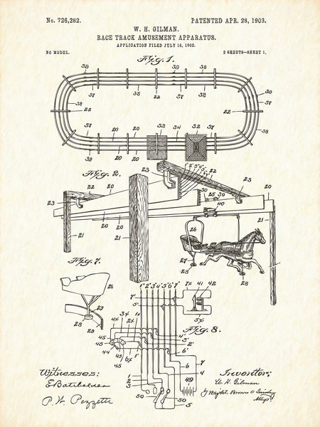 U.S. Patent No. 726282-1 Race Track Amusement Apparatus Reworked, Series 1