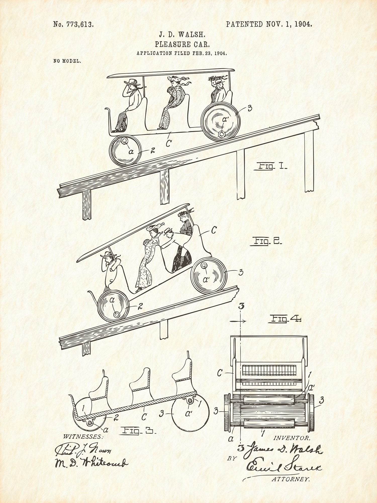 U.S. Patent No. 773613-1 Pleasure Car Reworked, Series 1