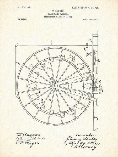 U.S. Patent No. 774209-1 Pleasure Wheel Reworked, Series 1