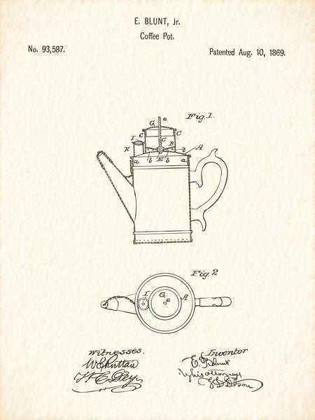 U.S. Patent No. 93587-1 Coffee Pot Reworked, Series 1