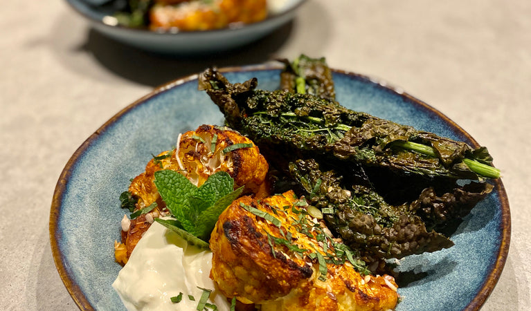 Recipe 8: Curry roasted cauliflower and pumpkin with crispy kale chips