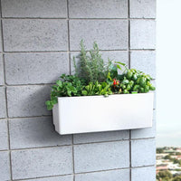 Self watering white balcony planter box