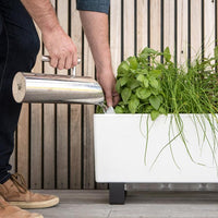 Man adding water to mini white self watering planter box