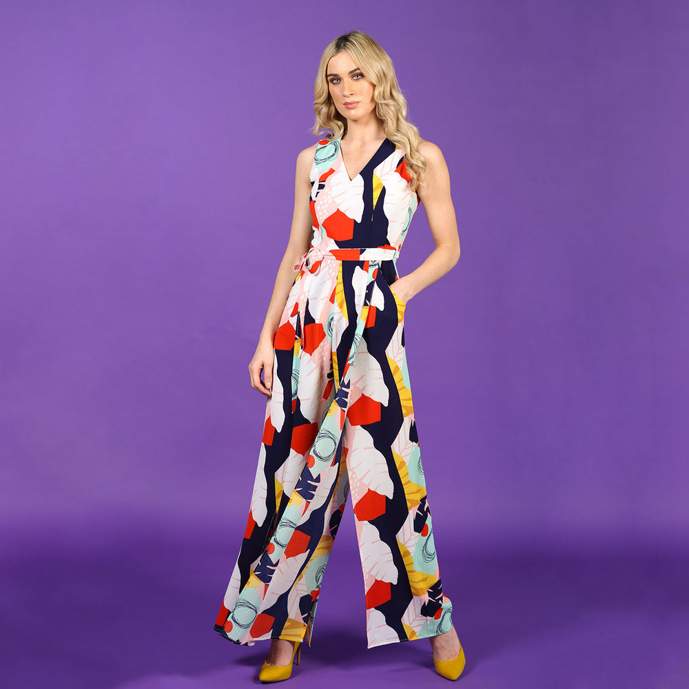 Printed Slit-Leg Jumpsuit