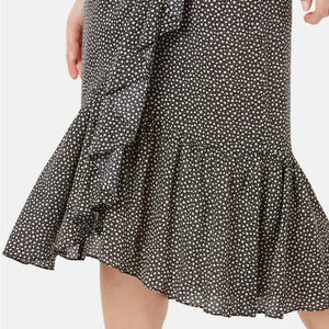 Black Frill Wrap Skirt