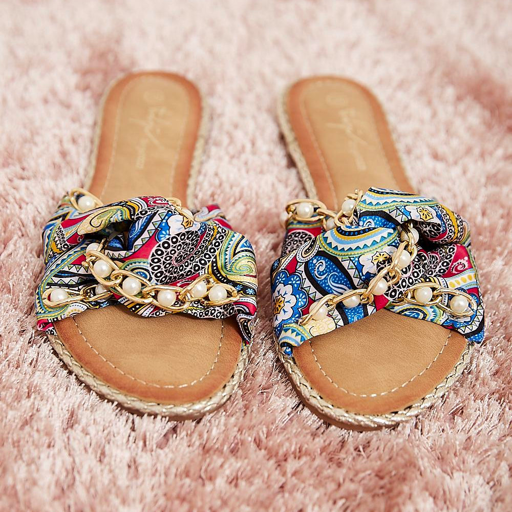 Paisley Print Embellished Sliders