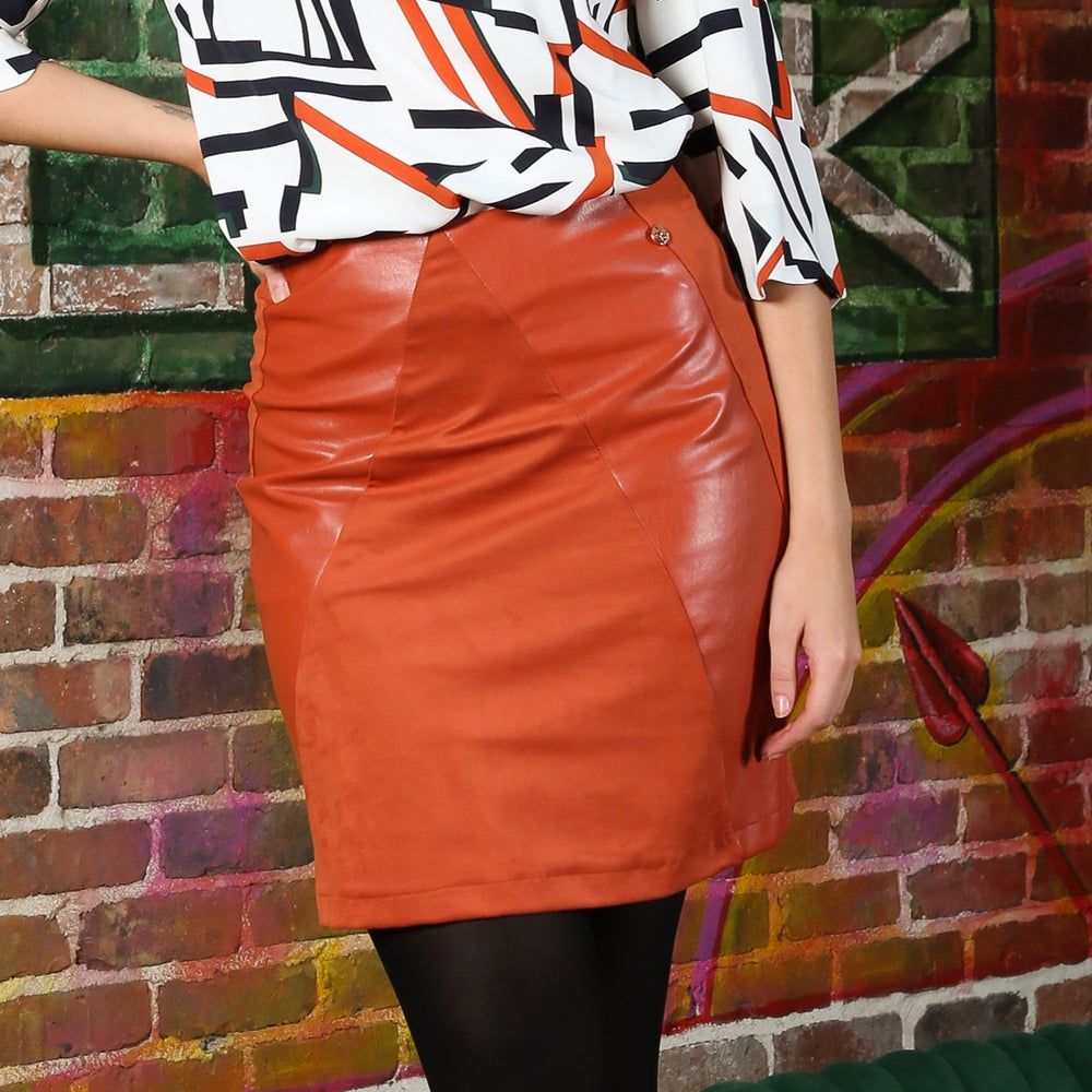 Dina Rust Faux Leather Skirt