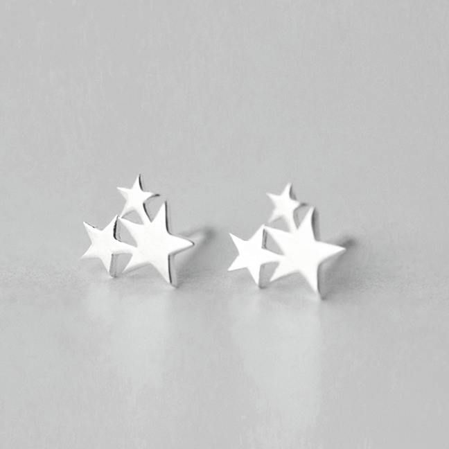 Cluster Trio Star Earring - Sterling Silver