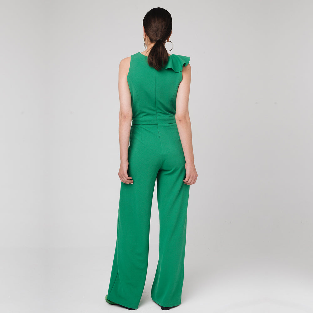 Green Jumpsuit with Ruffle | The Dresser Boutique Banbridge Northern Ireland