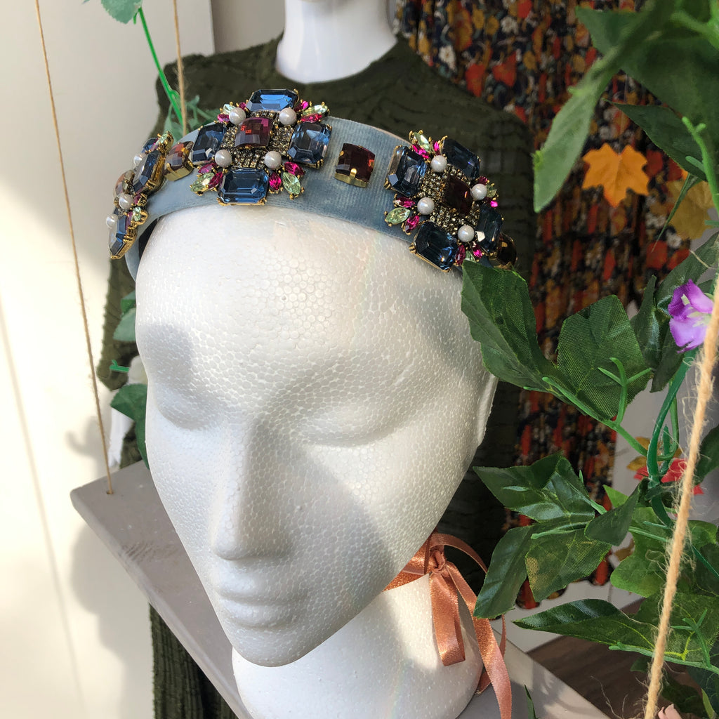 Blue Embellished Hairband