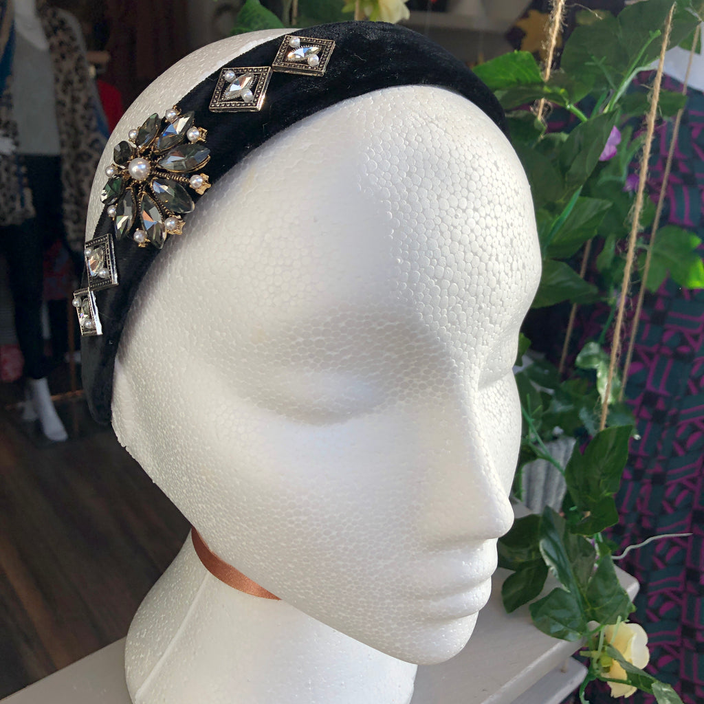 Black and Silver Embellished Hairband