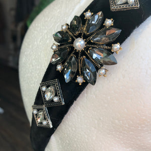 Black and Grey Embellished Hairband
