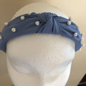Powder Blue Knotted Hairband With Pearls