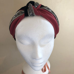 Deep Pink/Black Gem Hairband