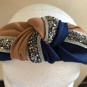 Navy/Mocha Gem Hairband