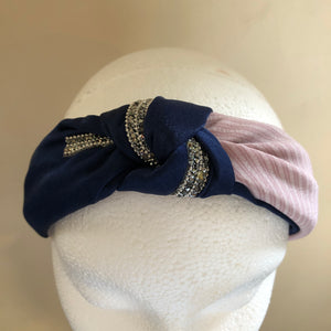 Navy/Baby Pink Knotted Hairband