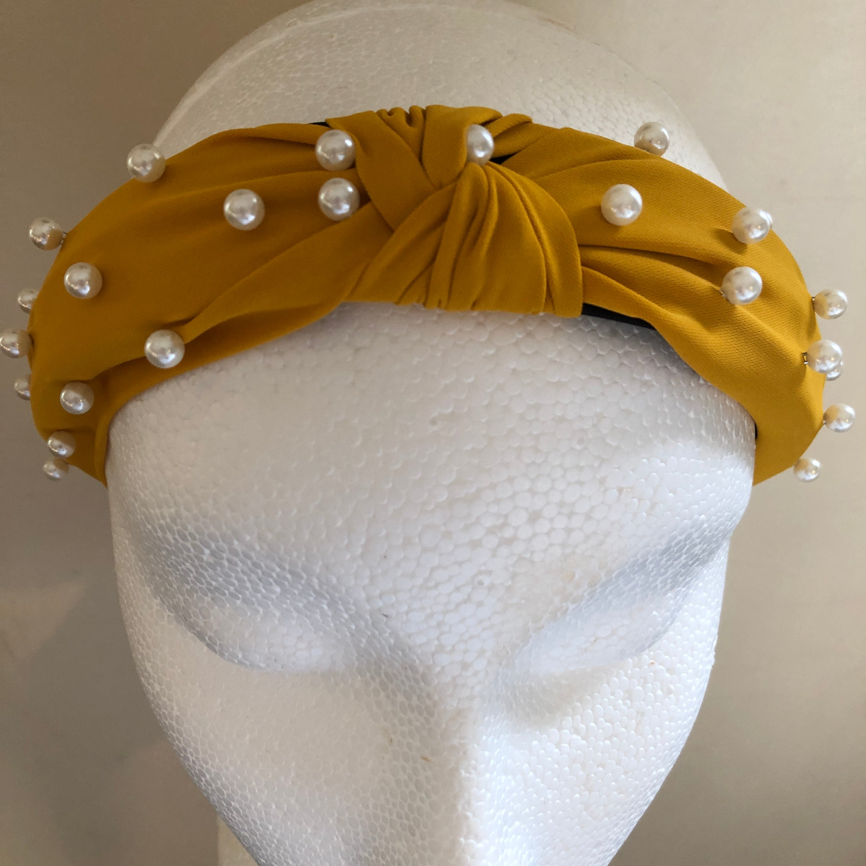 Yellow Knotted Hairband With Pearls