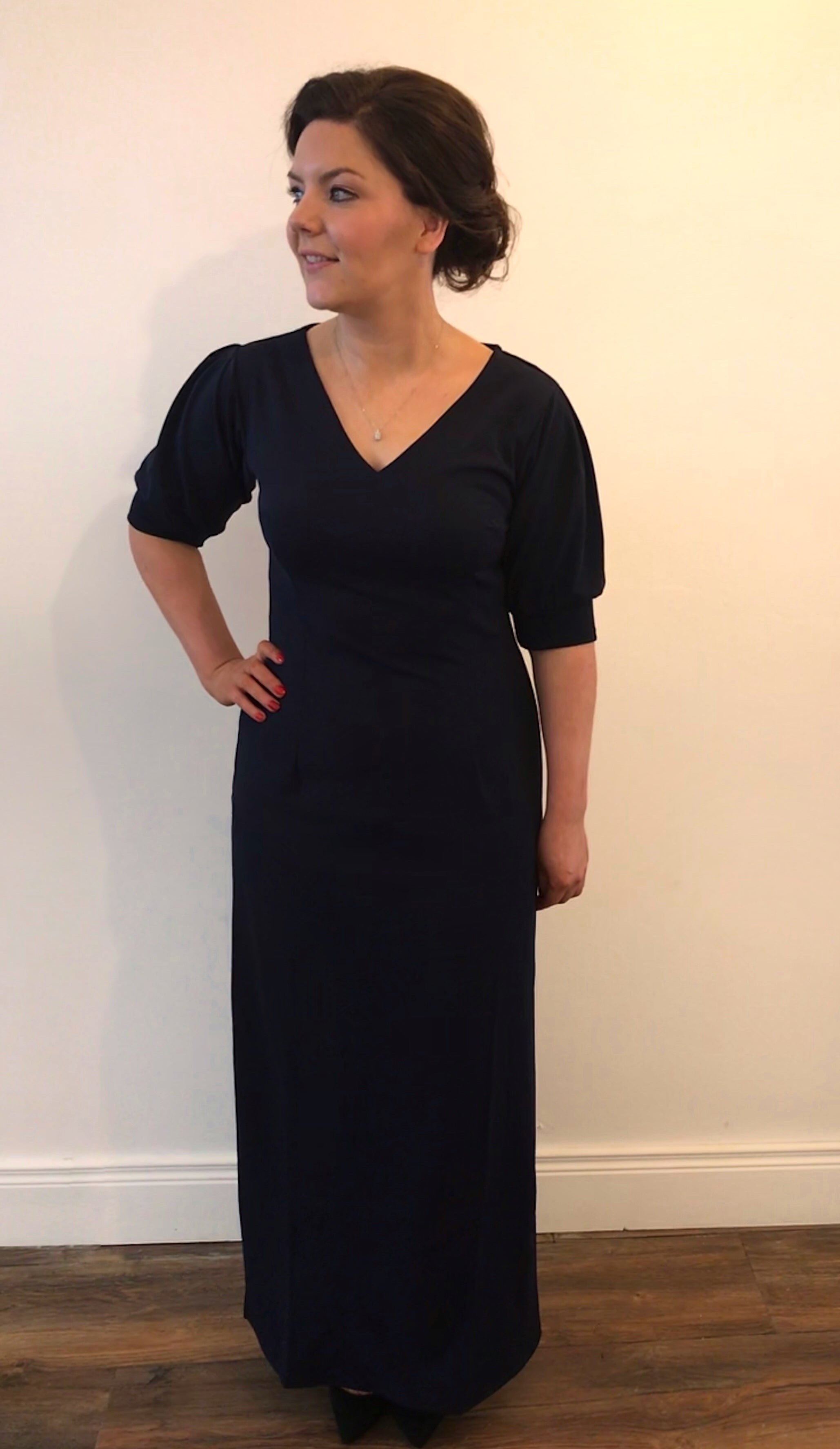Adeline Navy Full Length Dress